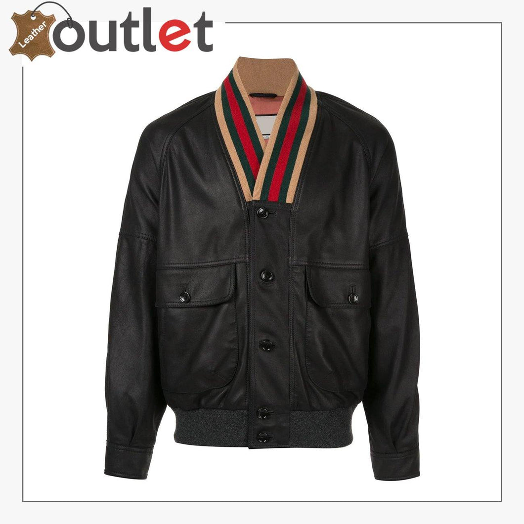 Web Collar Womens Leather Bomber Jacket