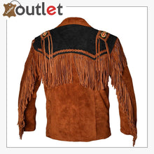 Load image into Gallery viewer, Western Cowboy Men's Brown Fringed Suede Leather Jacket