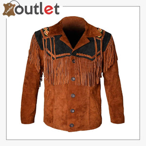Western Cowboy Men's Brown Fringed Suede Leather Jacket