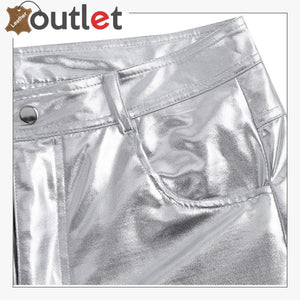White Color Disco Nigh Club Leather Metallic Straight Pant Trouser