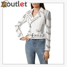 Load image into Gallery viewer, White Lambskin Perfecto Spike-Stud Biker Jacket