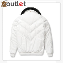 Load image into Gallery viewer, White Leather V Bomber Jacket - Leather Outlet