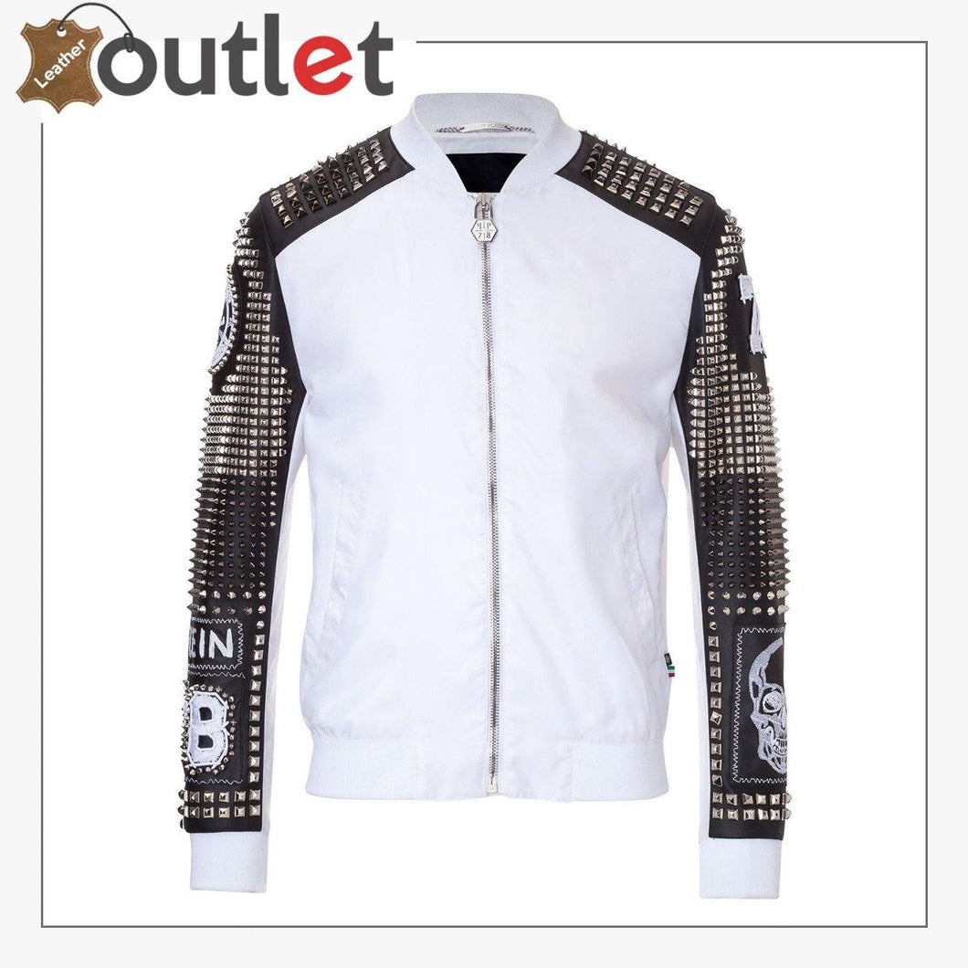 White Styles Silver Studded Embroidery Patches Punk Leather Jacket
