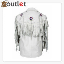 Load image into Gallery viewer, White Western Style Genuine Finished Cow Leather jacket - Leather Outlet