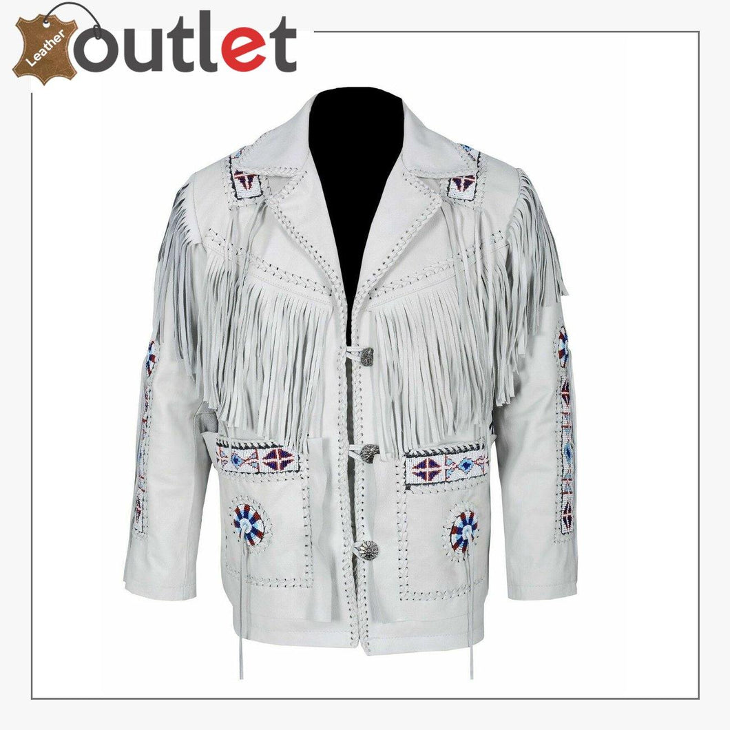 White Western Style Genuine Finished Cow Leather jacket - Leather Outlet