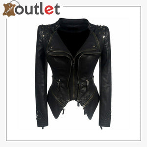 Winter Motorcycle Pure leather Jacket Women