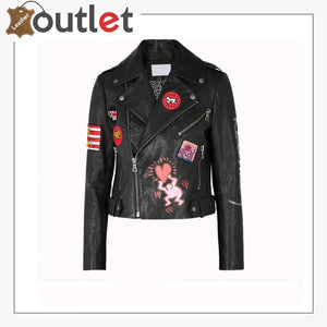 Women Fashion Printed Leather Jacket