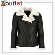 Load image into Gallery viewer, Women Sheepskin Jacket White Real Shearling Fur Pilot Warm Bomber Jacket