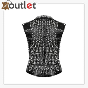 Handmade Women Leather Studded Vest