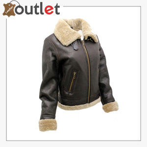 Women's Brown B3 WW2 Ginger Real Thick Sheepskin Leather Flying Jacket