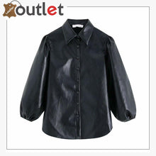 Load image into Gallery viewer, Women's Ladies Shirt Real Leather Bell Cuff Sleeve Shirt