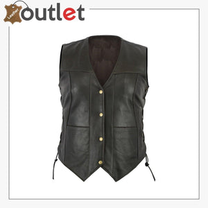 Womens Black Pocket Cowhide Leather Motorcycle Biker Vest