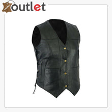 Load image into Gallery viewer, Womens Black Pocket Cowhide Leather Motorcycle Biker Vest