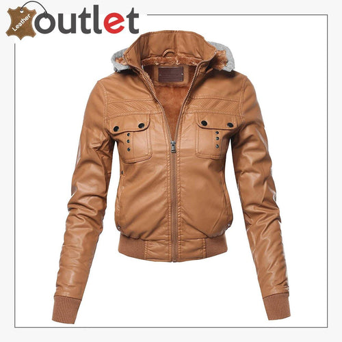 Womens Casual Stylish Trendy Zipper Leather Bomber Jacket