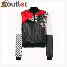 Load image into Gallery viewer, Womens Fashion Printed Bomber Leather Jacket