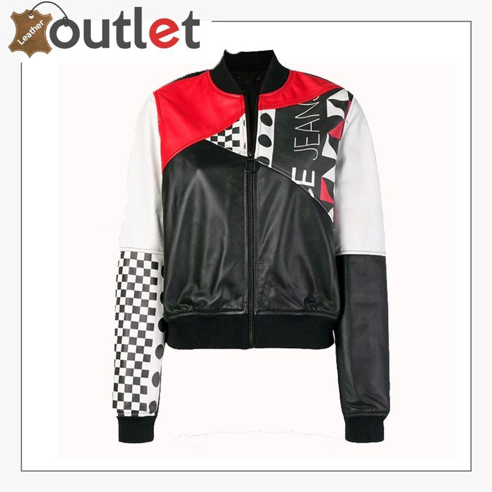 Womens Fashion Printed Bomber Leather Jacket