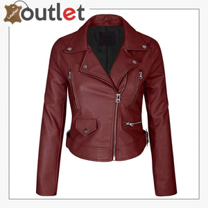 Womens Faux Leather Zip Up Everyday Bomber Jacket