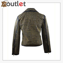 Load image into Gallery viewer, Womens Full Golden Studded Leather Jacket
