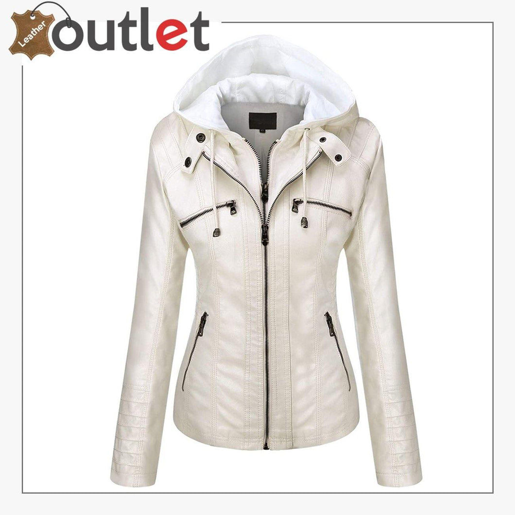 Womens Hooded Faux Leather Fashion Jacket