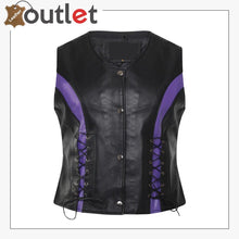 Load image into Gallery viewer, Womens Lambskin Handmade Classical Real Leather Biker Vest
