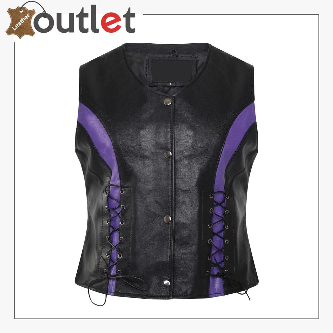Womens Lambskin Handmade Classical Real Leather Biker Vest