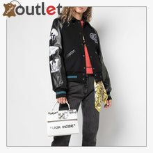 Load image into Gallery viewer, Womens Leather Varsity Inspired Bomber Jacket