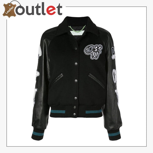 Womens Leather Varsity Inspired Bomber Jacket