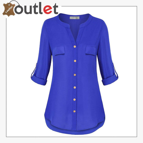 Womens Notch V-Neck Tab Sleeve Button Leather Shirt