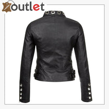 Load image into Gallery viewer, Womens Real Black Leather Studded Eyelet Jacket
