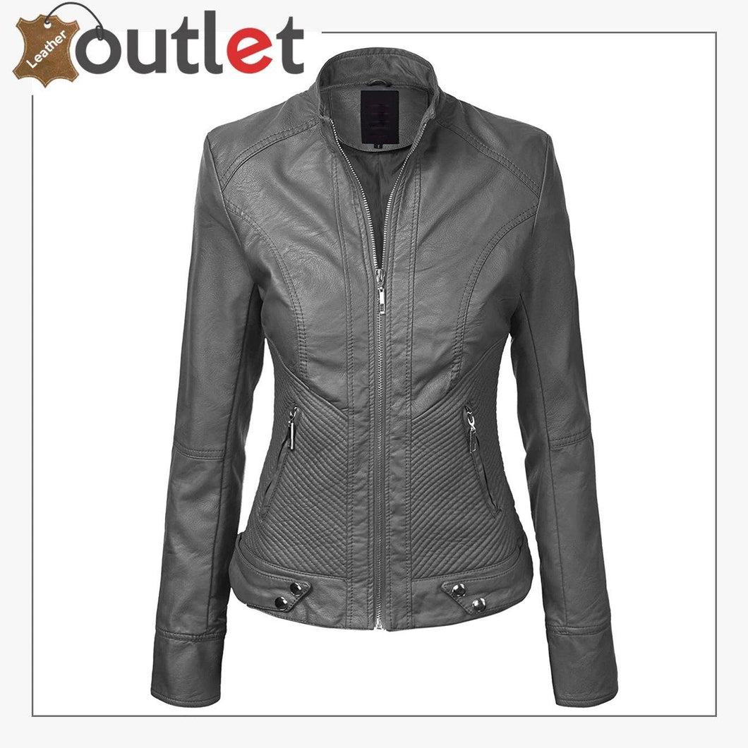 Womens Removable Hooded Faux Leather Moto Biker Fashion Jacket