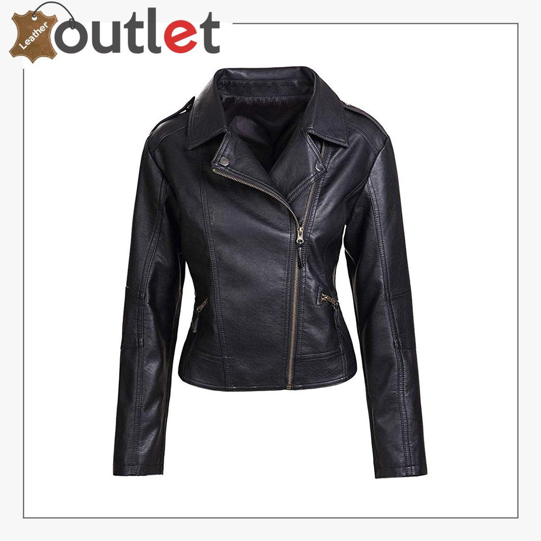 Womens Slim Tailoring Faux Leather Coat Moto Biker Jacket