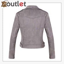 Load image into Gallery viewer, Womens Stylish Notched Collar Oblique Zip Leather Bomber Jacket