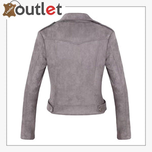Womens Stylish Notched Collar Oblique Zip Leather Bomber Jacket