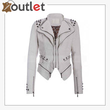 Load image into Gallery viewer, Womens White Studded Punk Leather Jacket