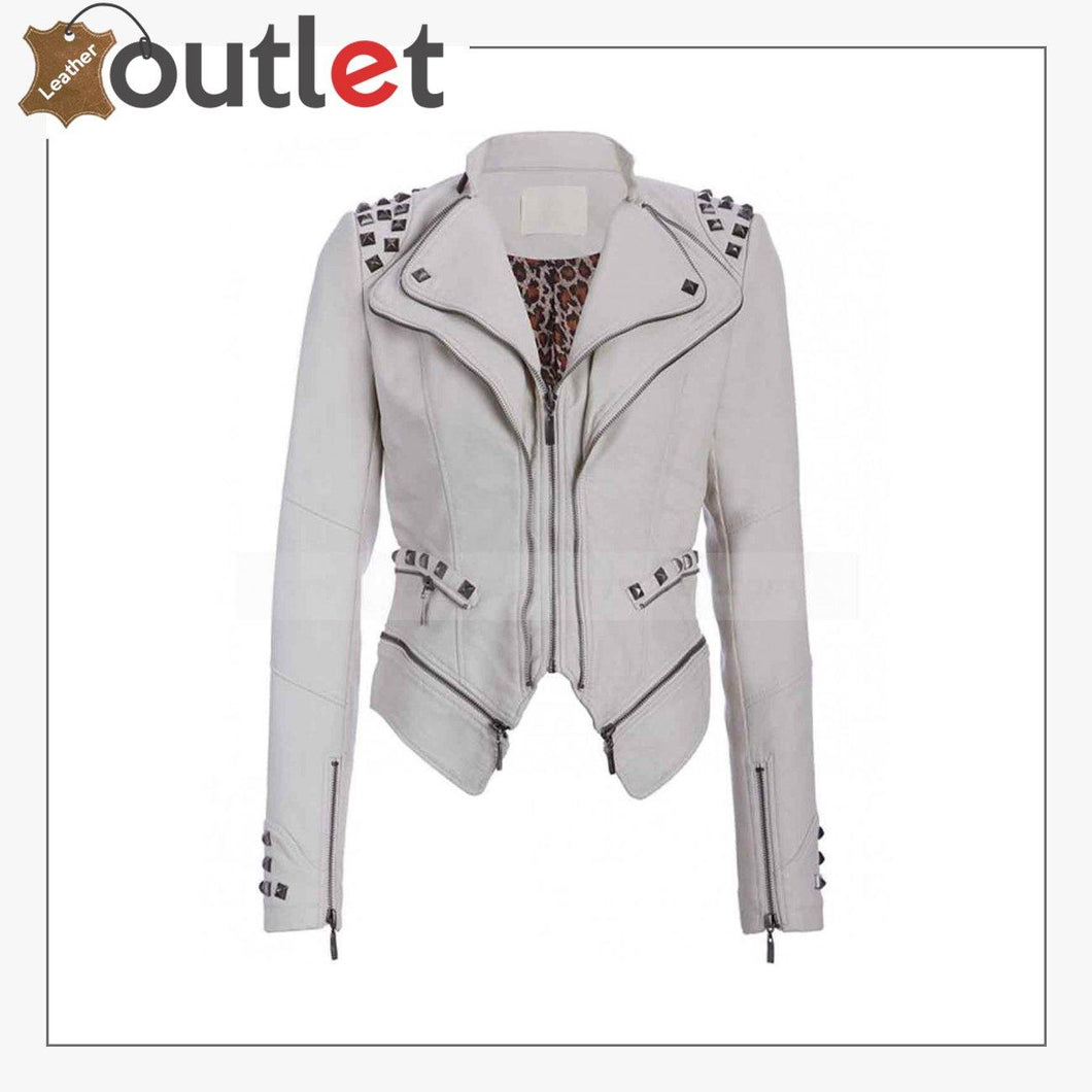 Womens White Studded Punk Leather Jacket