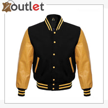 Load image into Gallery viewer, Wool Blend Baseball Leather Varsity jacket