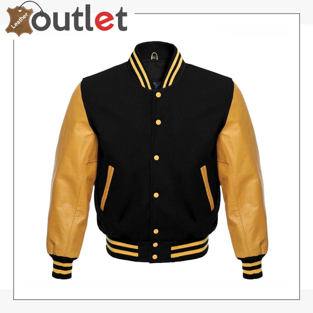 Wool Blend Baseball Leather Varsity jacket