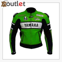 Load image into Gallery viewer, Yamaha green Motorcycle Leather Racing Jacket