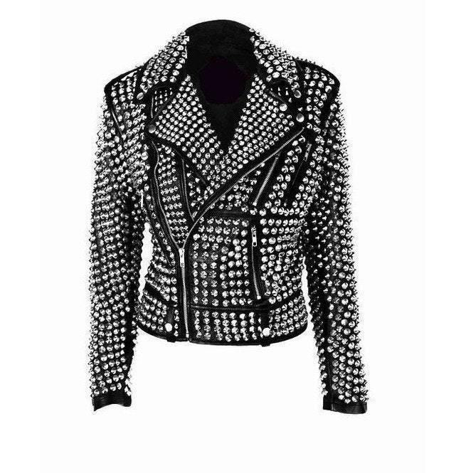 Handmade Women Rock Star All over Silver Studded Cowhide Leather Jacket