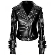 Load image into Gallery viewer, Handmade Women Black Punk Silver Spiked Studded Leather Biker Jacket