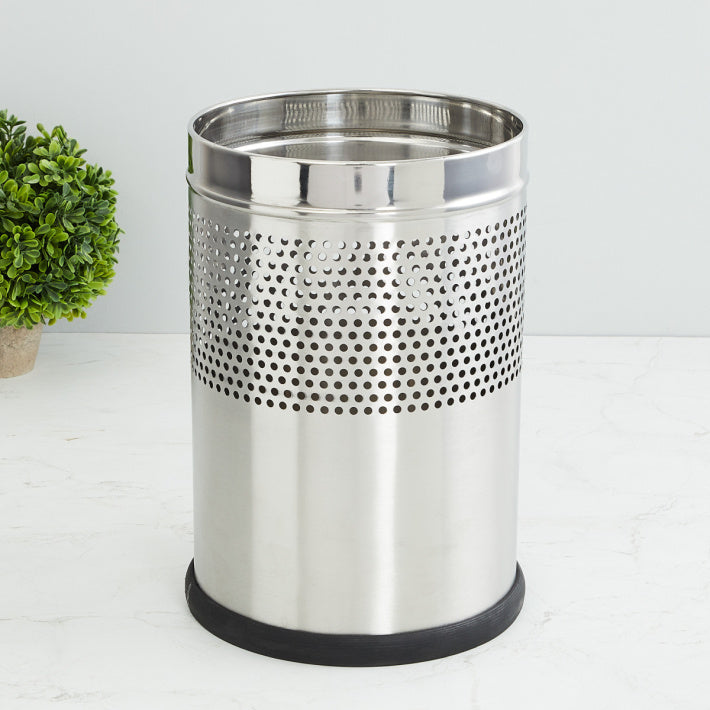 Parasnath Stainless Steel Half Perforated Dustbin, 8L - 8 X 13 Inch - PARASNATH MADE IN INDIA