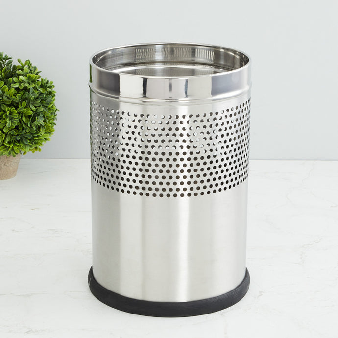 Parasnath Stainless Steel Half Perforated Dustbin,11L -10X15 Inch - PARASNATH