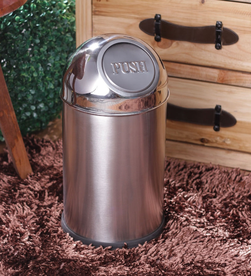 Parasnath Stainless Steel Push Dustbin/Push Garbage Bin 18 litre (10'' x 18'') - PARASNATH MADE IN INDIA