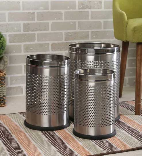 PARASNATH Stainless Steel Perforated Open Dustbin/ Garbage Bin Small, Medium and Large(Silver)- Set of 3 - PARASNATH