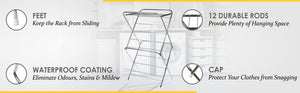 PARASNATH Prime Stainless Steel 12 Rods Extra Large Foldable Cloth Dryer/Clothes Drying Stand - Made in India - PARASNATH MADE IN INDIA