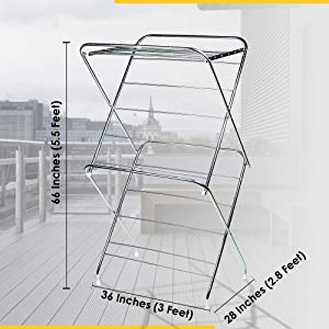 PARASNATH Prime Stainless Steel 12 Rods Extra Large Foldable Cloth Dryer/Clothes Drying Stand - Made in India - PARASNATH
