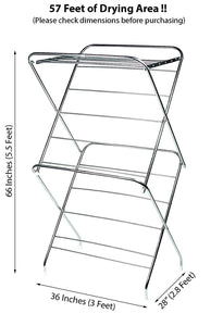PARASNATH Prime Stainless Steel 15 Rods Extra Large Foldable Cloth Dryer/Clothes Drying Stand - Made in India - PARASNATH