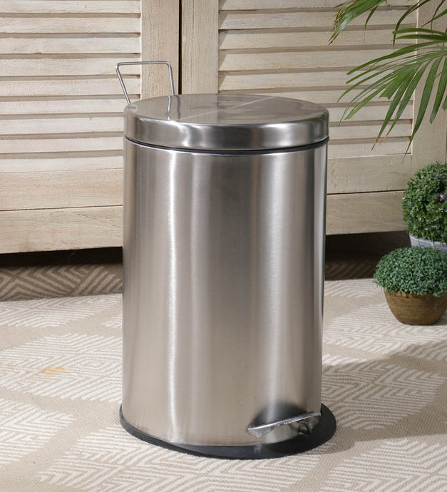 Parasnath Stainless Steel Plain Pedal Dustbin With Plastic Bucket (8''X13''- 7 Liter) - PARASNATH