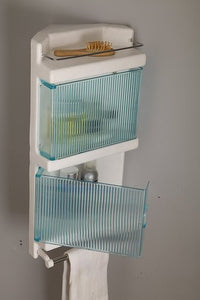 Parasnath King Corner Bathroom Crystal Door Cabinet Shelf with Towel Stand - PARASNATH MADE IN INDIA