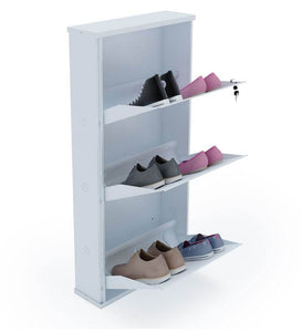 PARASNATH Pure White Wall Shoe Rack 3 Shelves Shoes Stand - PARASNATH